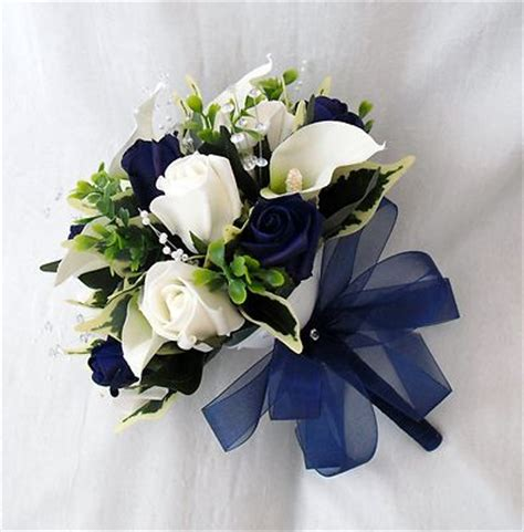 Wedding Bouquet Navy Blue by Wedding Flowers Bouquets Brides Bouquet 2 Posies Cala