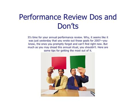 home appraisal do s and don ts 009 performance reviews do s and don t s