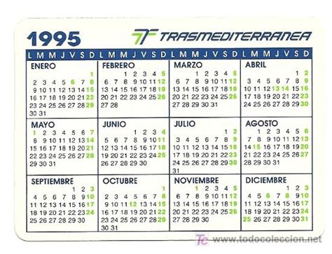 Calendario De 1995 Calendario De La Compa 241 237 A Trasmediterr 225 Nea A 241 O Comprar