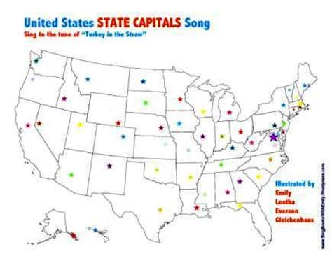 map of the united states song united states state capitals song a singable picture book