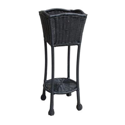 Jeco Black Wicker Patio Furniture Planter Stand Ori001 D Home Depot Wicker Patio Furniture