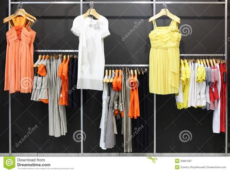 european brand new clothes shop royalty free stock