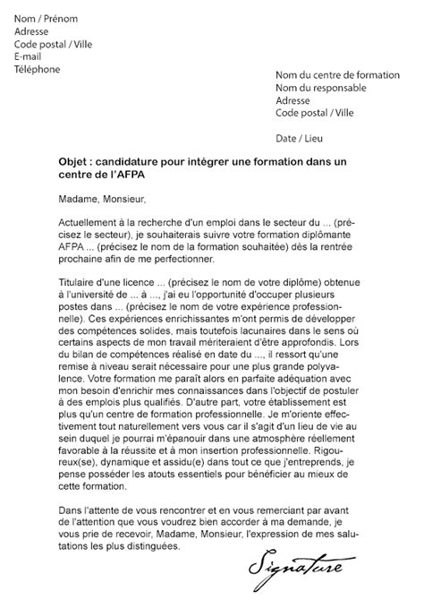 Lettre De Motivation Formation Apb Lettre De Motivation Formation Afpa Mod 232 Le De Lettre