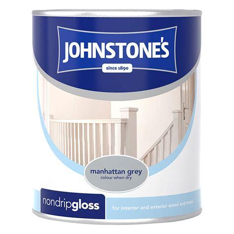 johnstones  drip gloss paint manhattan grey ml diy