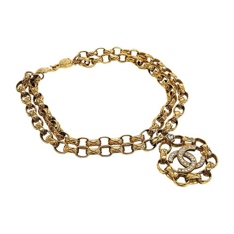 rhinestone charms for jewelry chanel vintage gold and rhinestone chain link cc charm