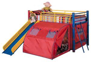 Metal Bunk Bed With Slide Play Lofted Bunk Bed With Slide And Tent Metal Frame In Bold Multicolor Contemporary
