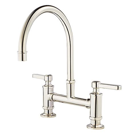 polished nickel kitchen faucets polished nickel port bridge kitchen faucet gt31 tdd pfister faucets