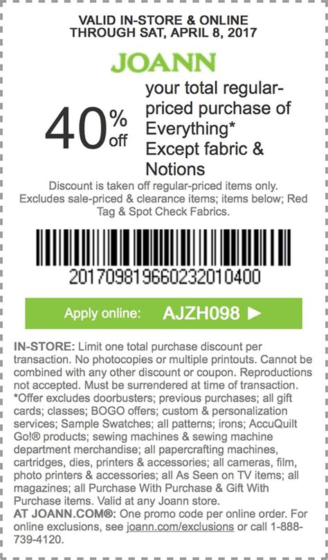 joann fabric printable application printable coupons in store coupon codes jo ann coupons