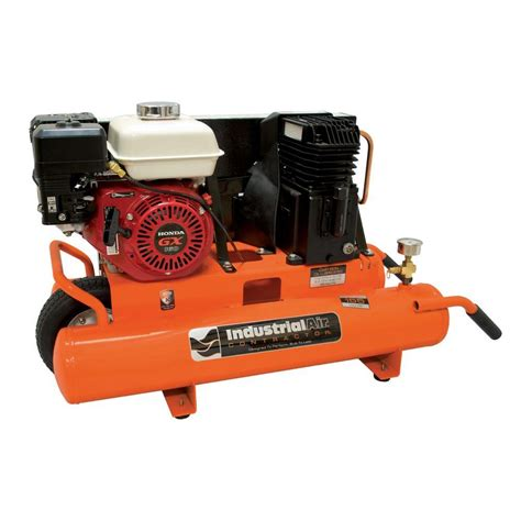 industrial air 8 gal portable wheelbarrow air compressor with 5 5 hp honda gas engine