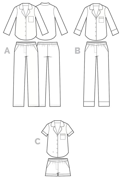 flat pattern en francais carolyn pajamas sewing pattern pajama pants top