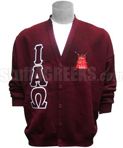 Omega Maroon iota alpha omega letter cardigan with crest maroon