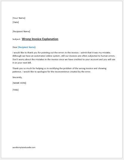 Explanation Letter For Wrong Entry Wrong Invoice Explanation Letter Ms Word Formal Word Templates