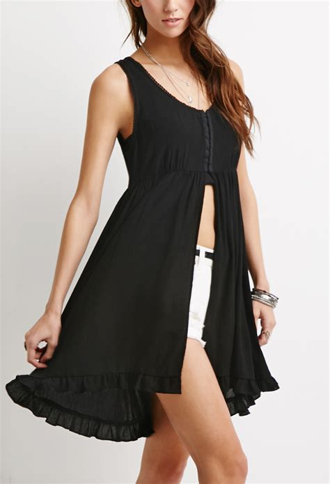 Front Slit Top by Forever 21 Gauze Slit Front Top In Black Lyst