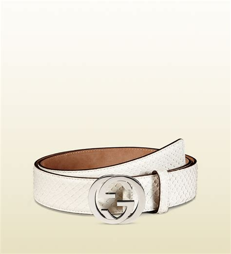 Gucci White lyst gucci python belt with interlocking g buckle in white