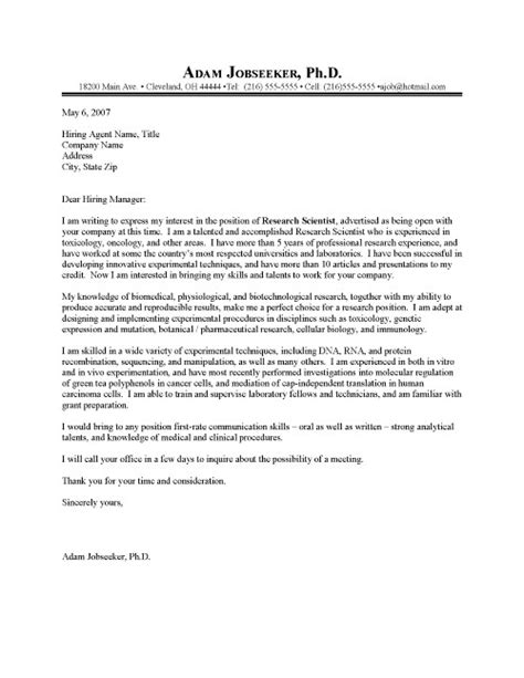Research Cover Letter Template Research Scientist Cover Letter Sle Resume Cover Letter