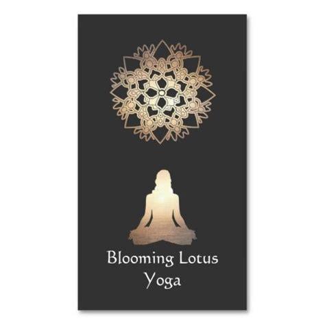 yoga teacher meditation pose gold lotus business card