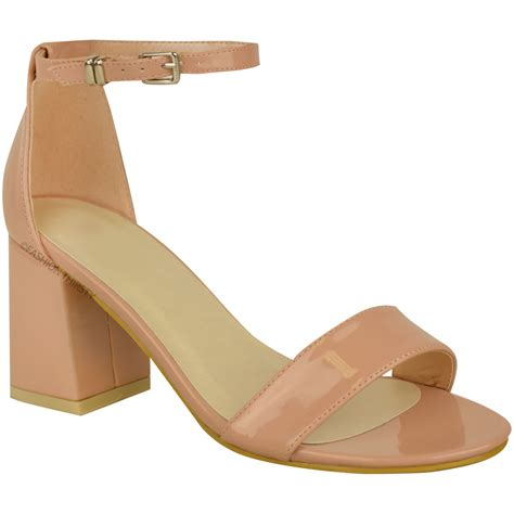 womens ankle sandals new womens low mid heel block peep toe ankle