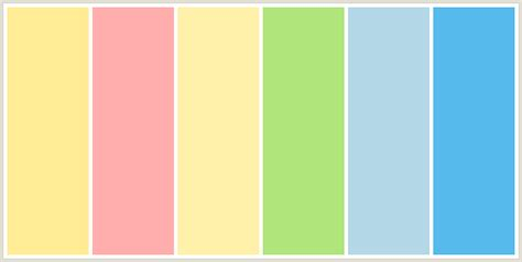 pink is a combination of what colors colorcombo211 with hex colors ffec94 ffaeae fff0aa