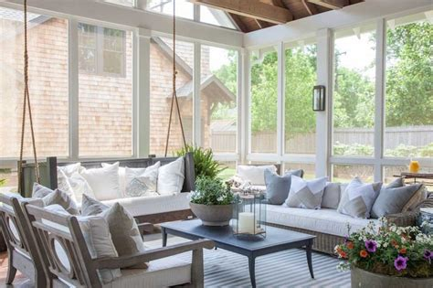 Window Treatments For Enclosed Porch by Sunroom With Hanging Sofa Transitional Deck Patio