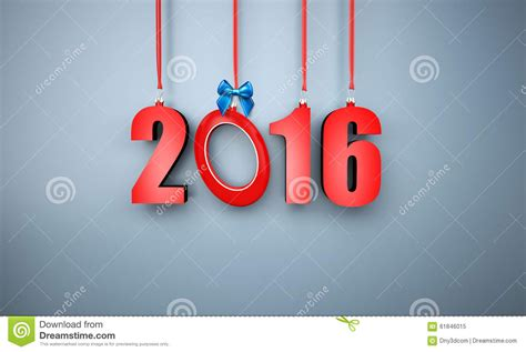 3d happy new year 2016 hanging stock illustration image