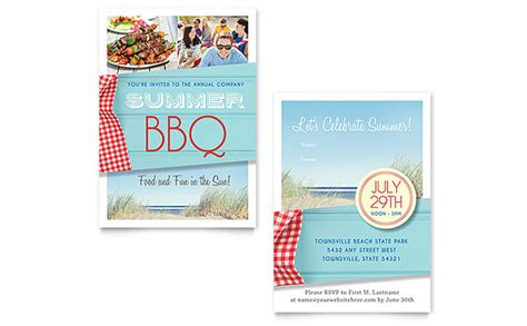Summer Bbq Invitation Template Word Publisher Summer Bbq Invite Template
