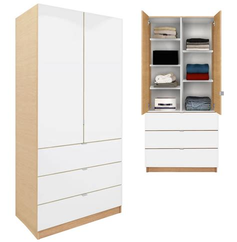 Wardrobe With Shelves Alta Wardrobe Armoire Adjustable Shelves 3 Drawers
