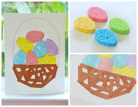 easter projects easter crafts for kids sponge painted easter egg basket