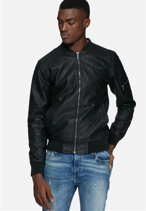 Pu Bomber Jacket pu bomber jacket sleeve zip black blend jackets