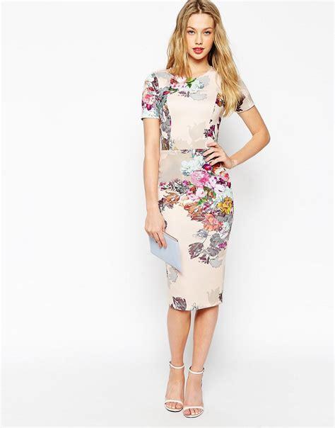 Flowery Bodycon Midi Dress asos floral print scuba bodycon dress fashion gallery
