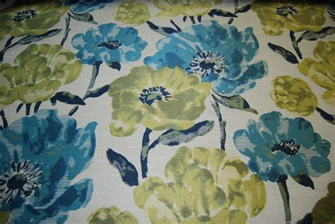 Watercolor Upholstery Fabric by Ralph Turquoise Watercolor Floral Flowers Garden