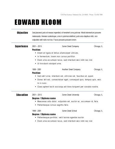 Basic Resume Sles For Free by Simple Resume Format Learnhowtoloseweight Net