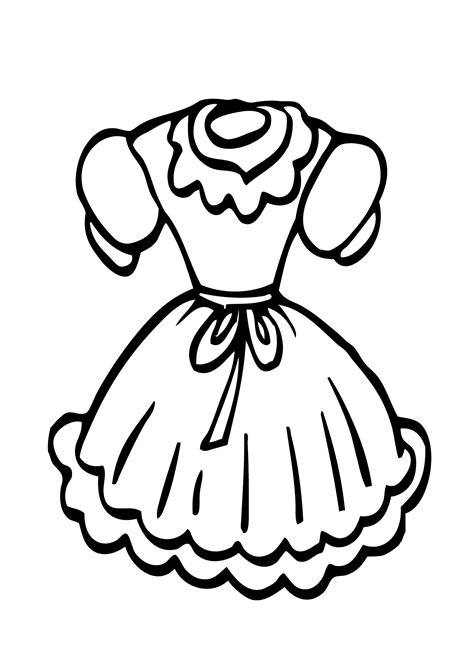 coloring pages dresses doll dress coloring page for girls printable free