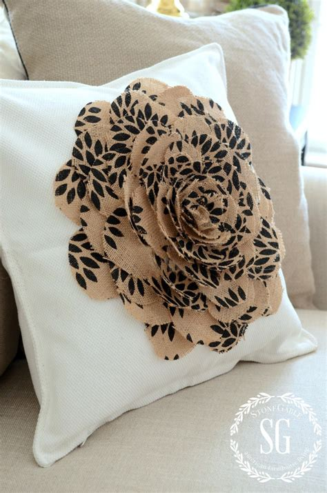 How To Sew Burlap Pillows by No Sew Burlap Flower Pillow Stonegable