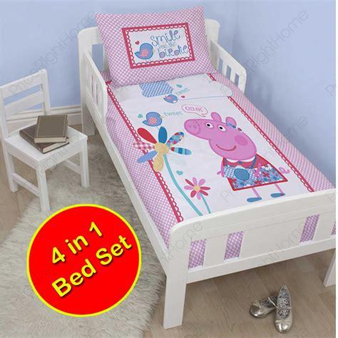 Peppa Pig Cot Bed Duvet Set Peppa Pig Tweet 4 In 1 Junior Cot Bed Bedding Bundle Duvet Cover Set Ebay