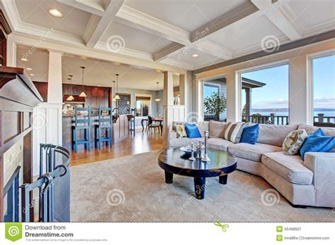 Carpet Ceiling by Luxury House With Open Floor Plan Coffered Ceiling