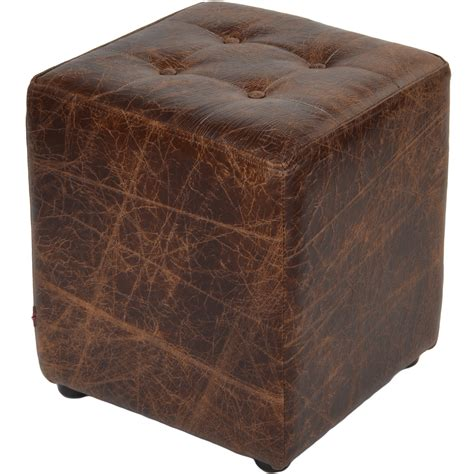 Brown Leather Cube Stool by Grain Leather Handcrafted Vintage Stool Cube Brown