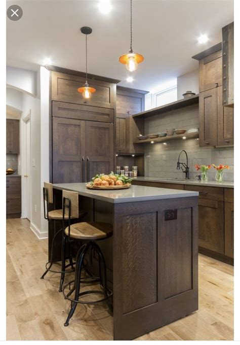 brown cabinets  grey countertops home ideas