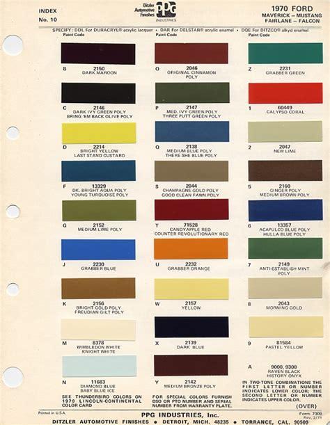1970 Mustang Colors