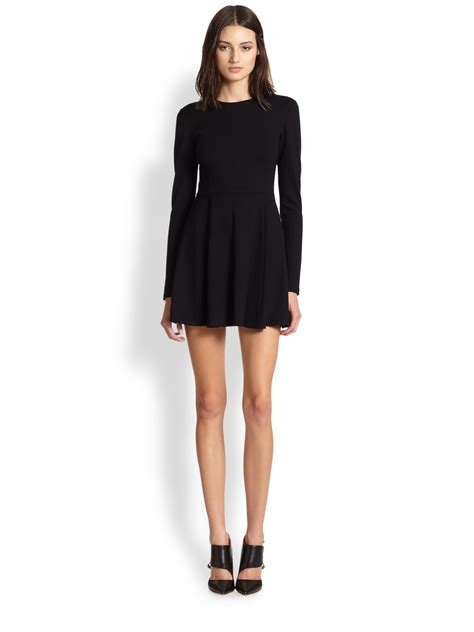 Sleeve Fit Dress lyst theory tillora sleeve fit flare dress in black