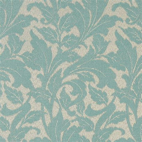 teal leaves outdoor indoor marine upholstery fabric by the