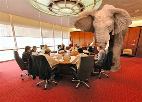 elephant in the room working from home confronting the elephant on against the herd on business finance