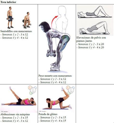 rutina de gimnasio en casa las 25 mejores ideas sobre ejercicios semanales en