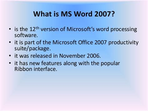What Is Ms Office Word 01 Microsoft Office Word 2007 Introduction And Parts