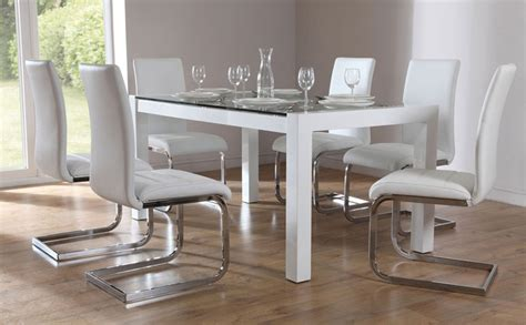 venice white high gloss and glass dining table and 4