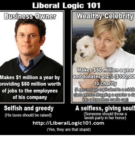 Liberal Logic Meme - liberal logic 101 business owne wealthy celebrity makes