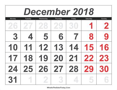 printable calendar 2018 large numbers best december 2018 calendar printable free monthly