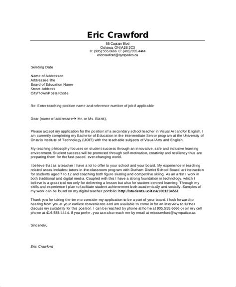 Cover Letter Ontario Exles Cover Letter Exle 9 Free Word Pdf Documents Free Premium Templates