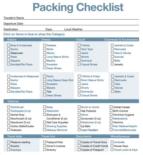 travel checklist excel tpl blank better trip packing list template