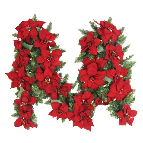garland lights 9 ft battery operated artificial poinsettia garland with