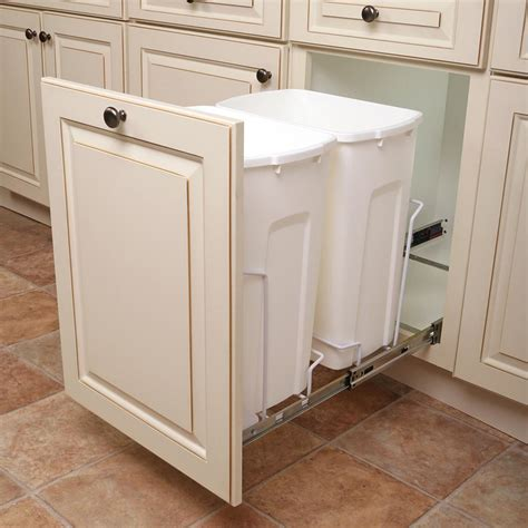 trash cans for kitchen cabinets knape vogt 14 375 in x 22 in x 18 813 in 35 qt in cabinet soft bottom mount